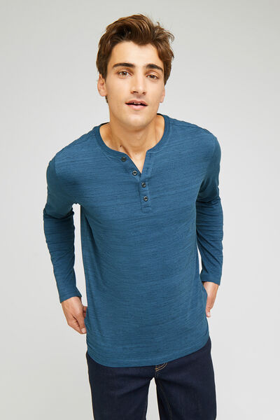 Tee-shirt col tunisien manches longues