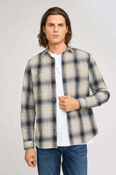 Chemise regular à carreaux ombré coton