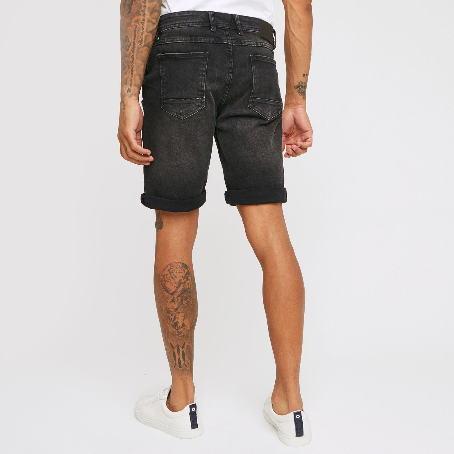 Bermuda 5 poches denim noir lavé
