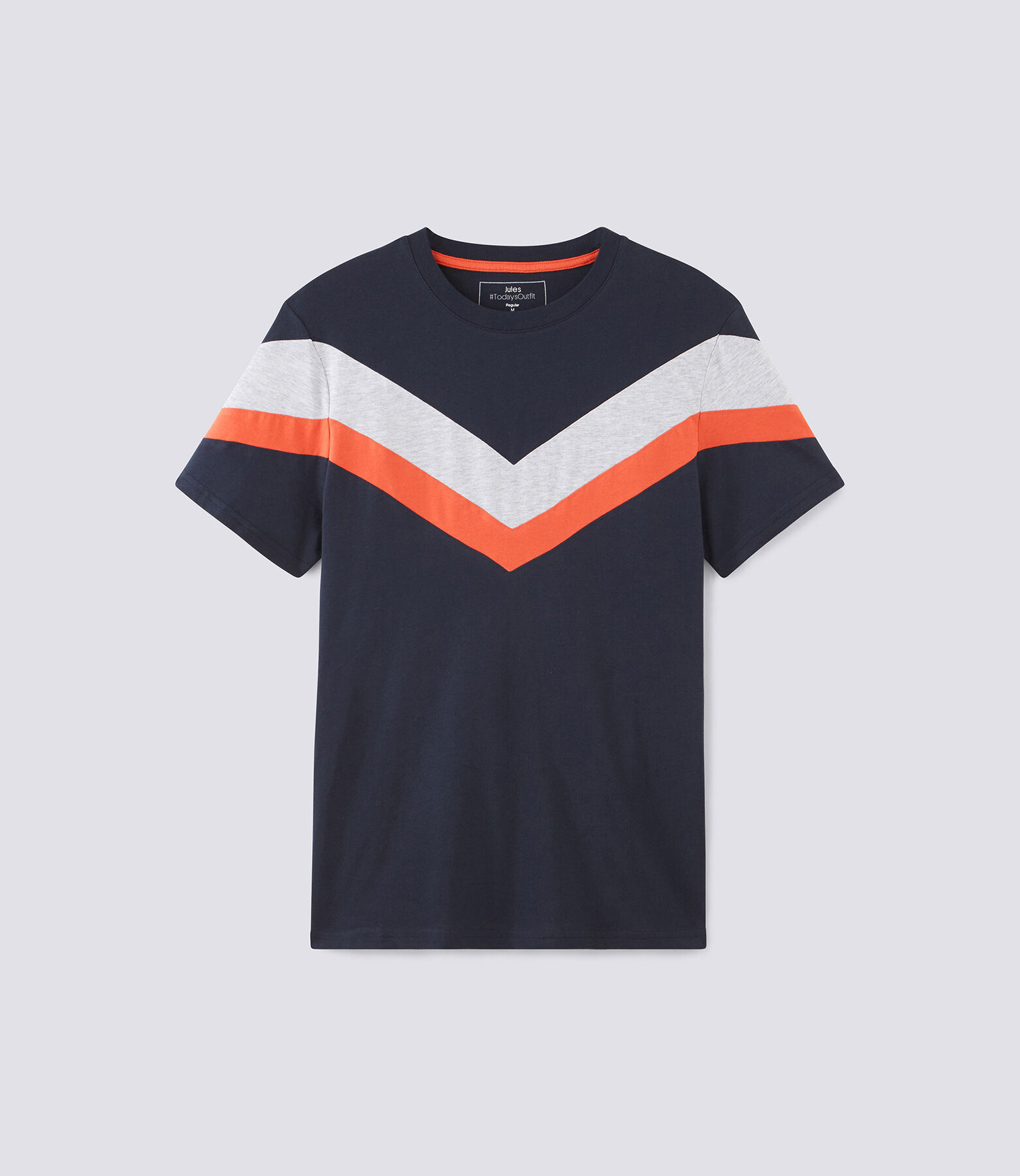 Tee shirt col rond bandes contrastantes