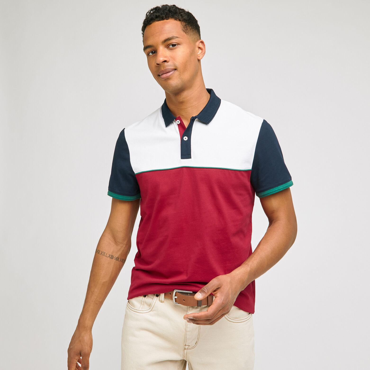 Polo manches courtes colorblock