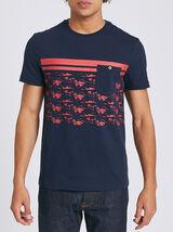 Tee shirt colorblock fantaisie palmiers
