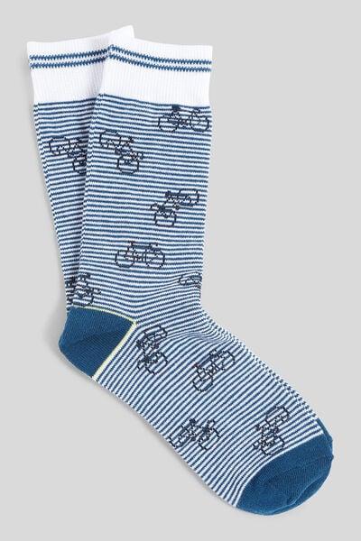 Chaussettes unitaires avec motif coton issu de l'a