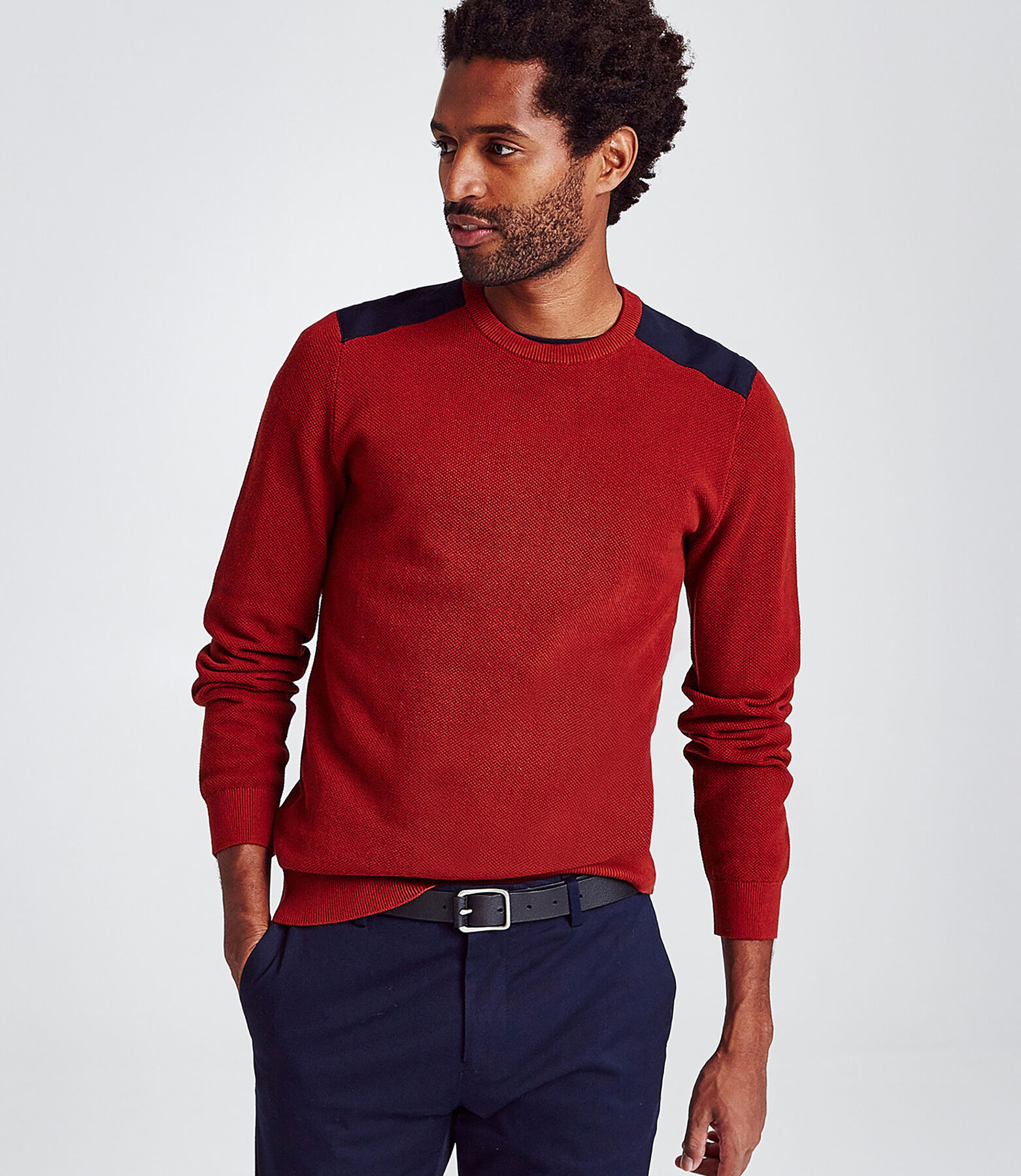Pull col rond maille piquée