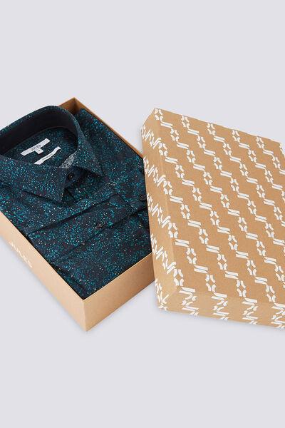 Chemise Slim motif fantaisie avec boite cadeau