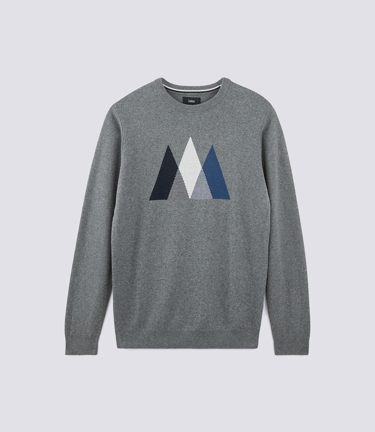 Pull col rond motif montagnes