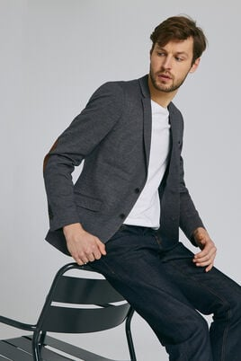 Slim vest in tricot met elleboogstukken