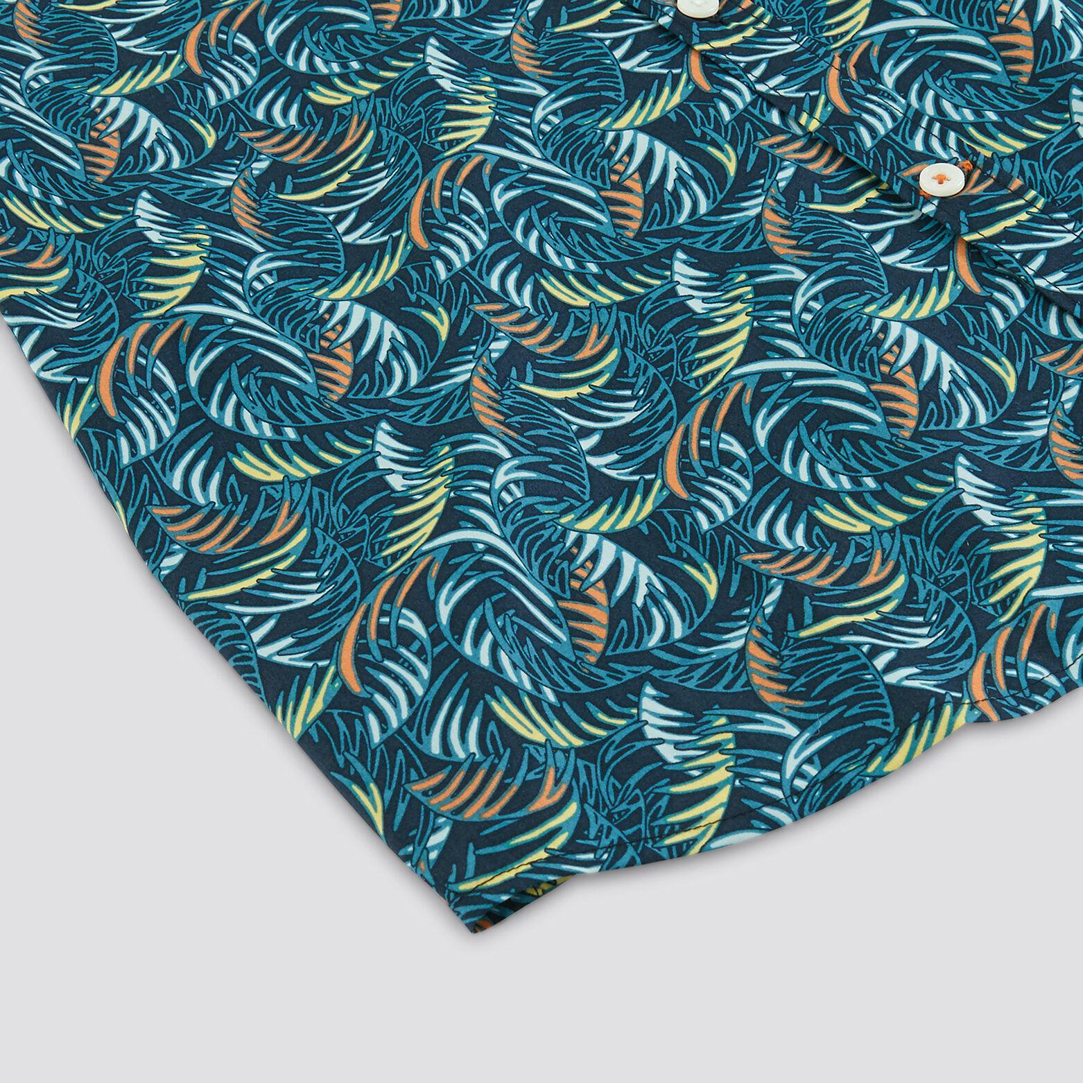 Chemise slim manches courtes imprimé palmier coton