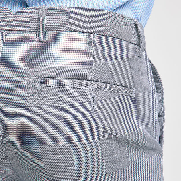 Pantalon chino lin/coton à carreaux