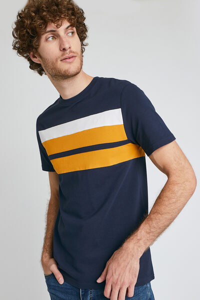 Colorblock T-shirt in piquétricot