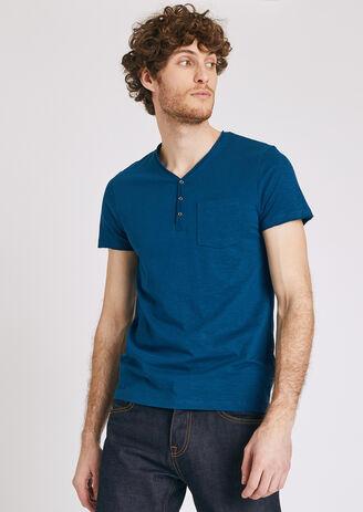 Tee shirt col tunisien roulotté Bleu Homme
