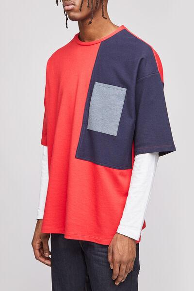 Tshirt color block oversize upcyclé