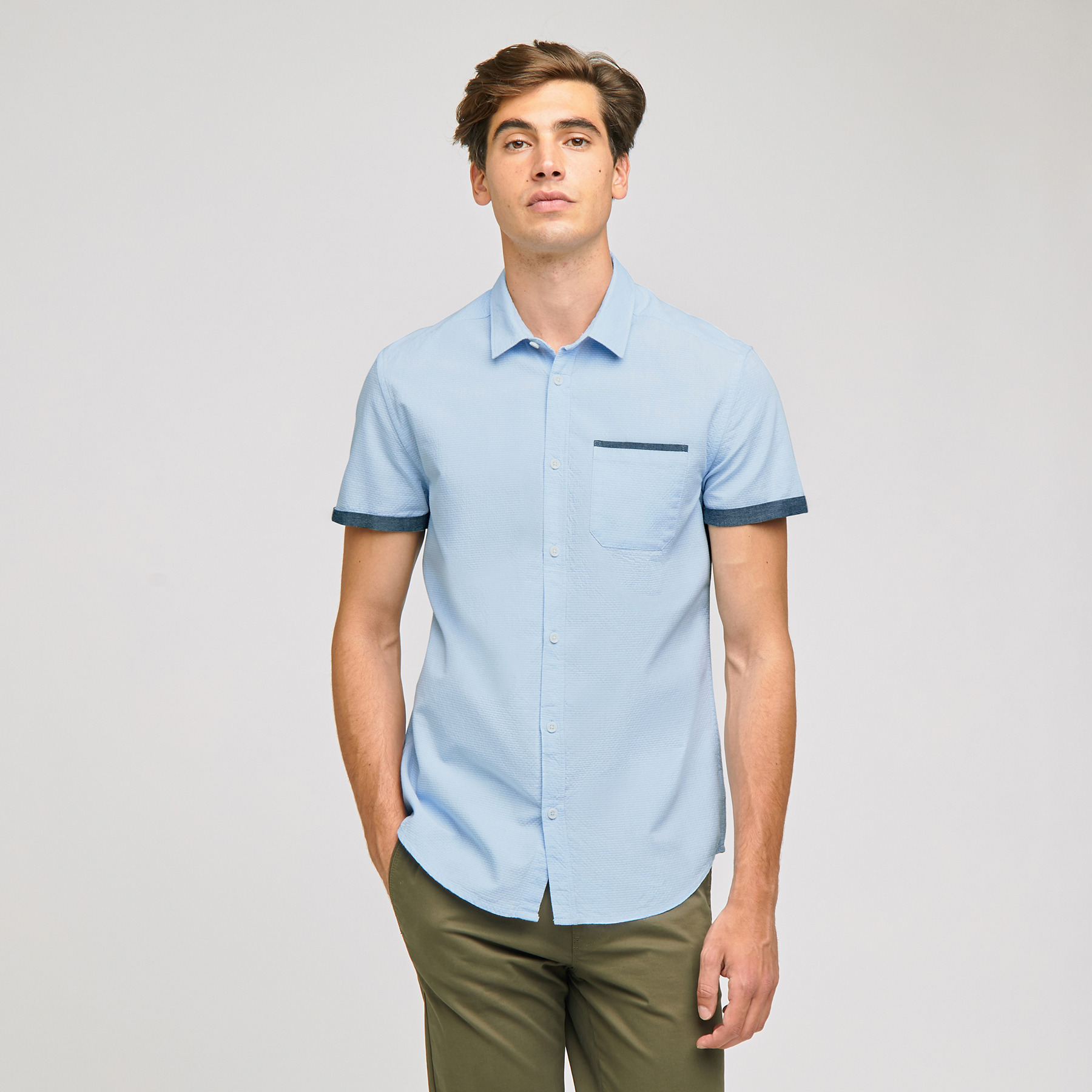 Chemisette Fantaisie Slim Coton Bleu Homme