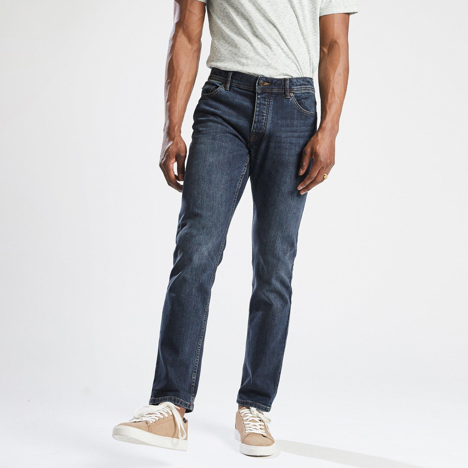 Jean straight #Ben  4 longueurs dirty Bleu Homme