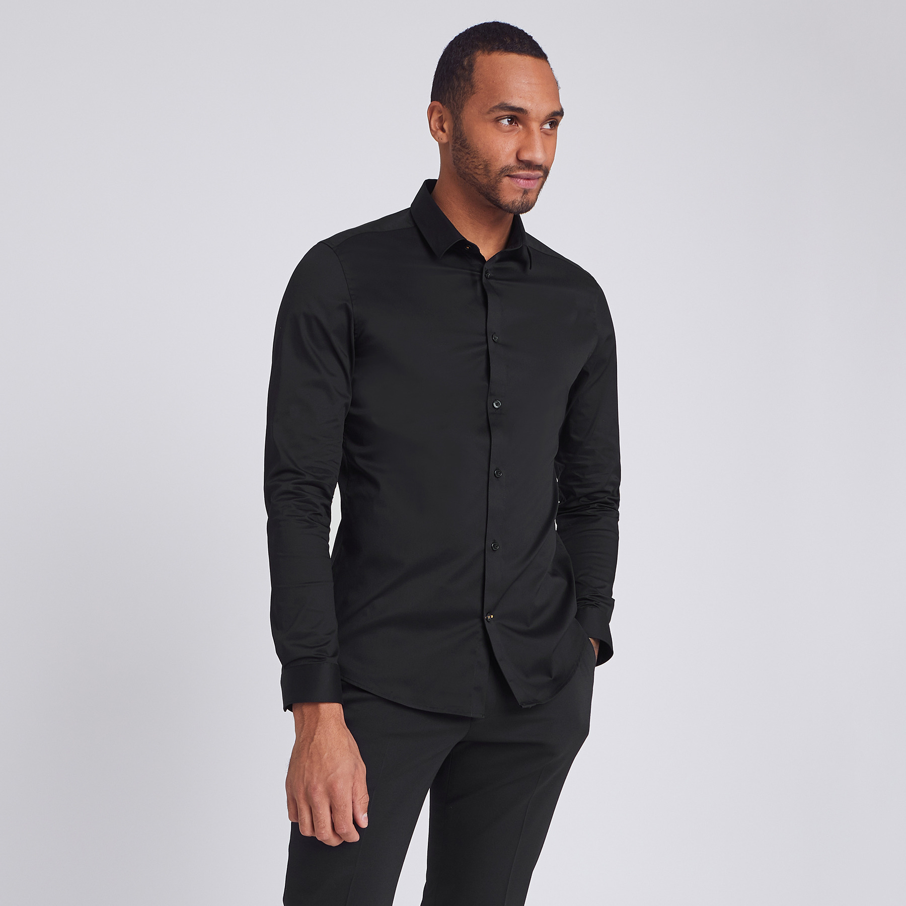Chemise extra slim unie coton Noir Homme