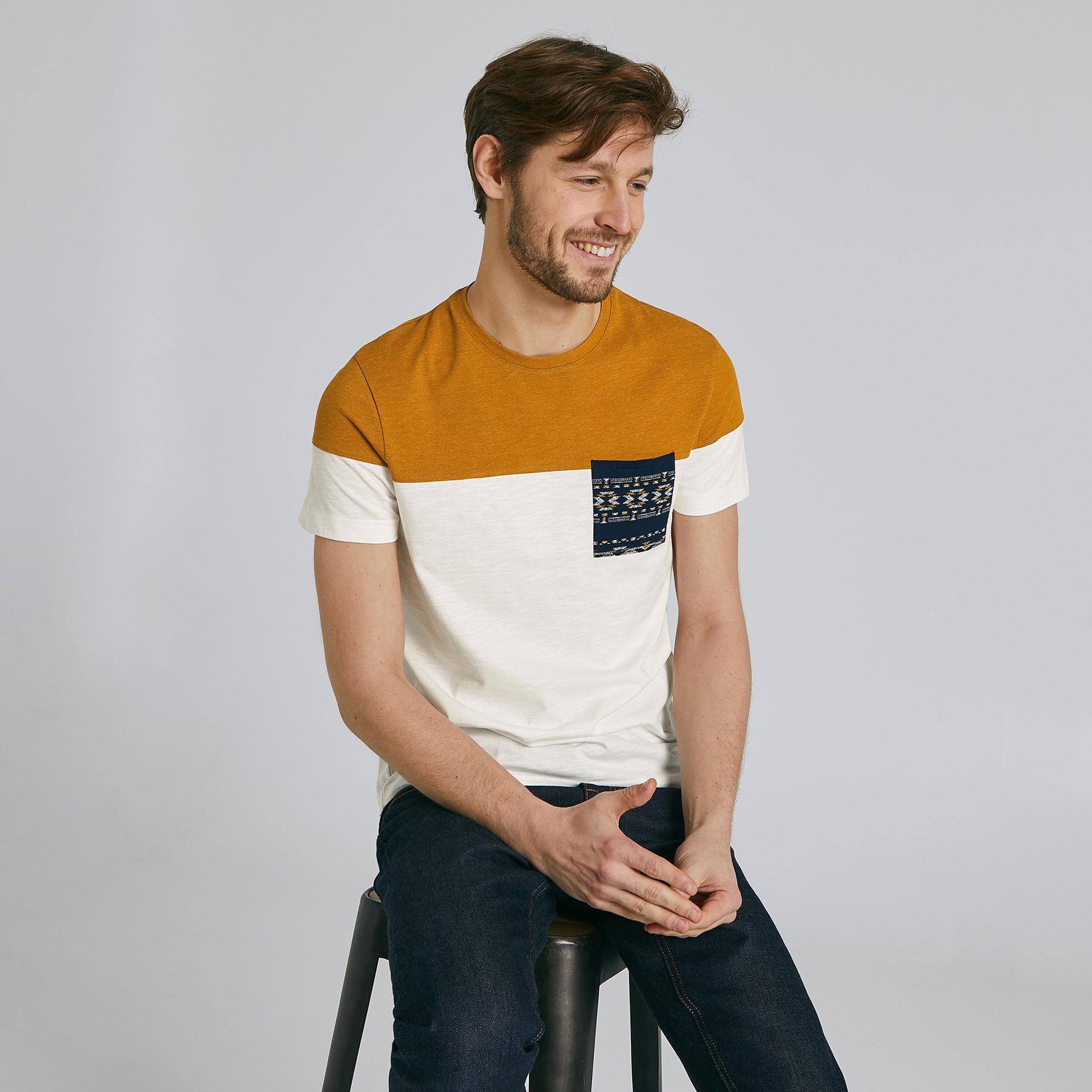 Tee shirt colorblock poche imprimée Jaune/Or Homme