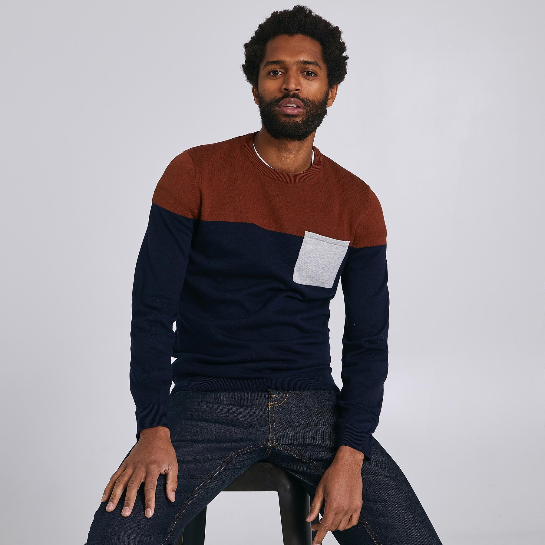 Pull jersey colorblock poche Bleu Homme