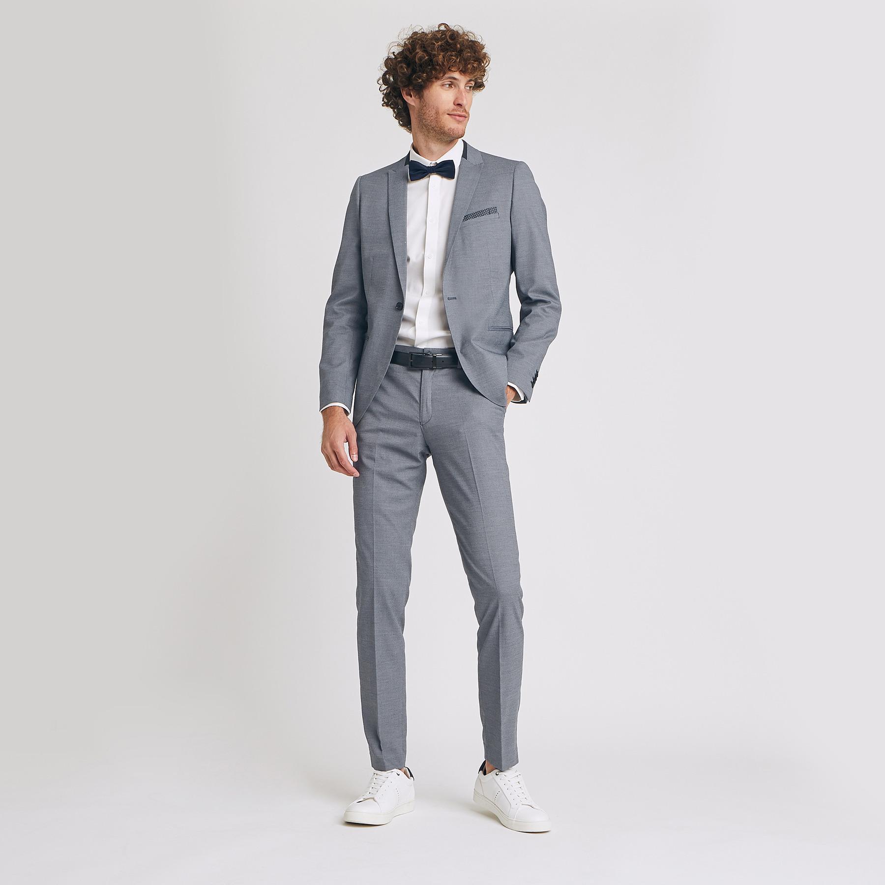 Pantalon de costume slim confort stretch Bleu Homme