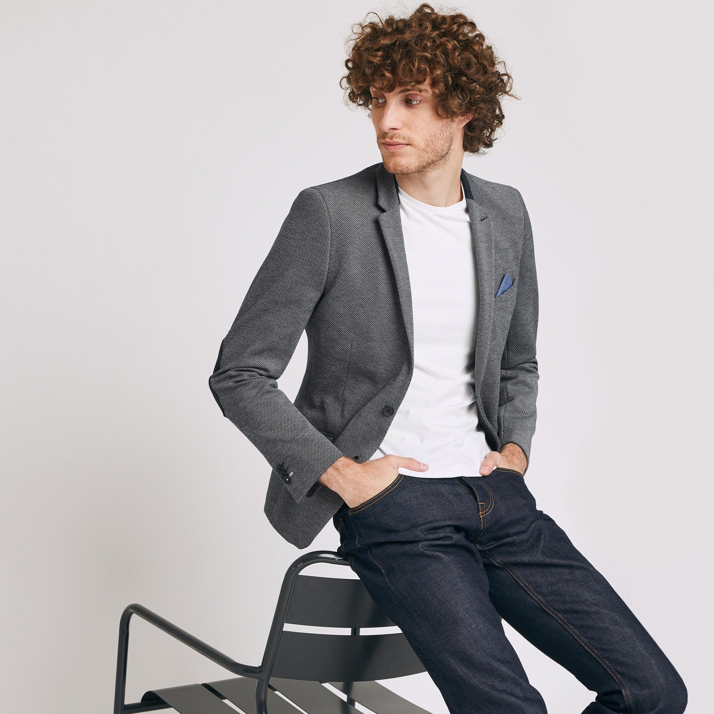 veste seule slim en maille avec coudières Bleu Homme