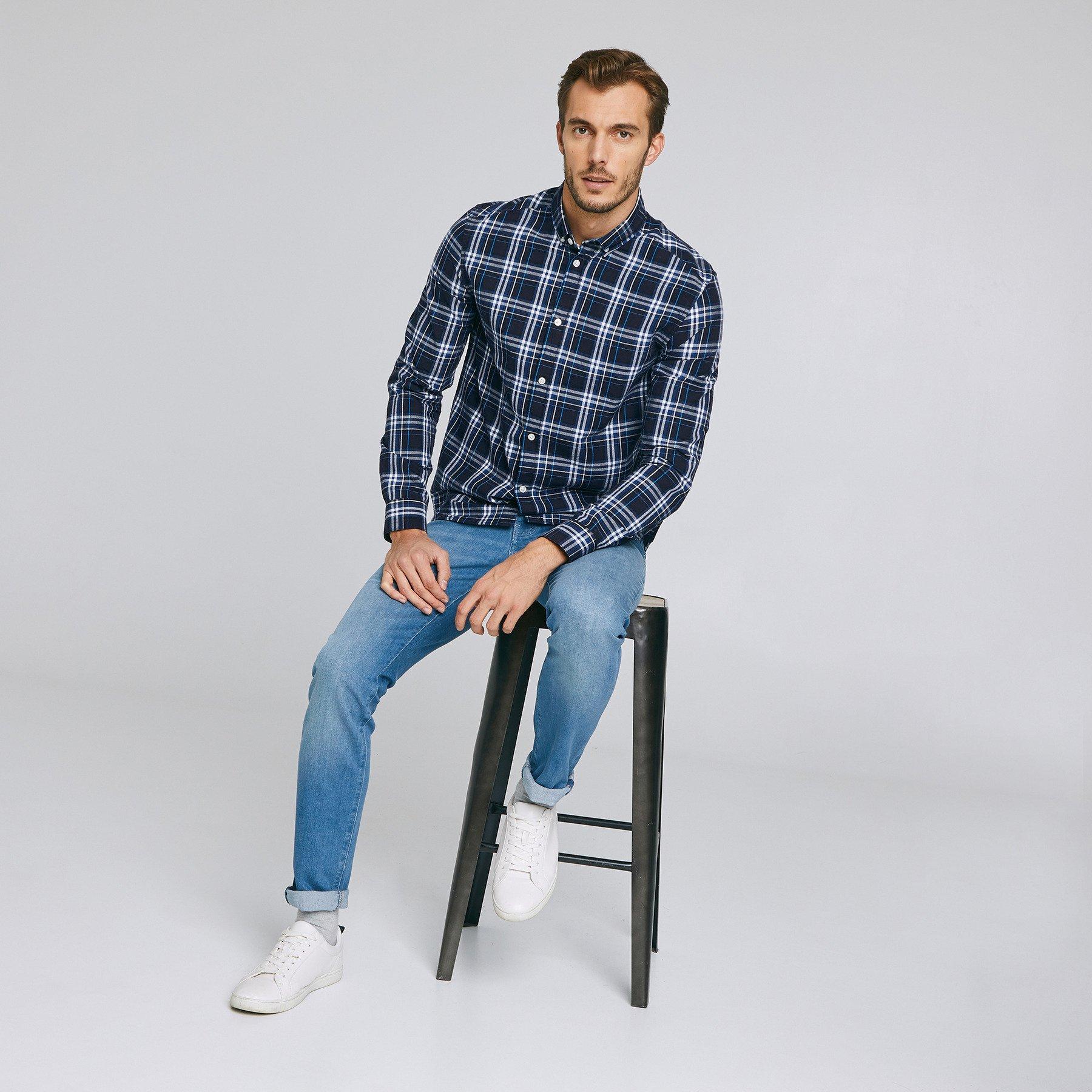 Jean slim #Tom 4 longueurs  greencast Bleu Homme