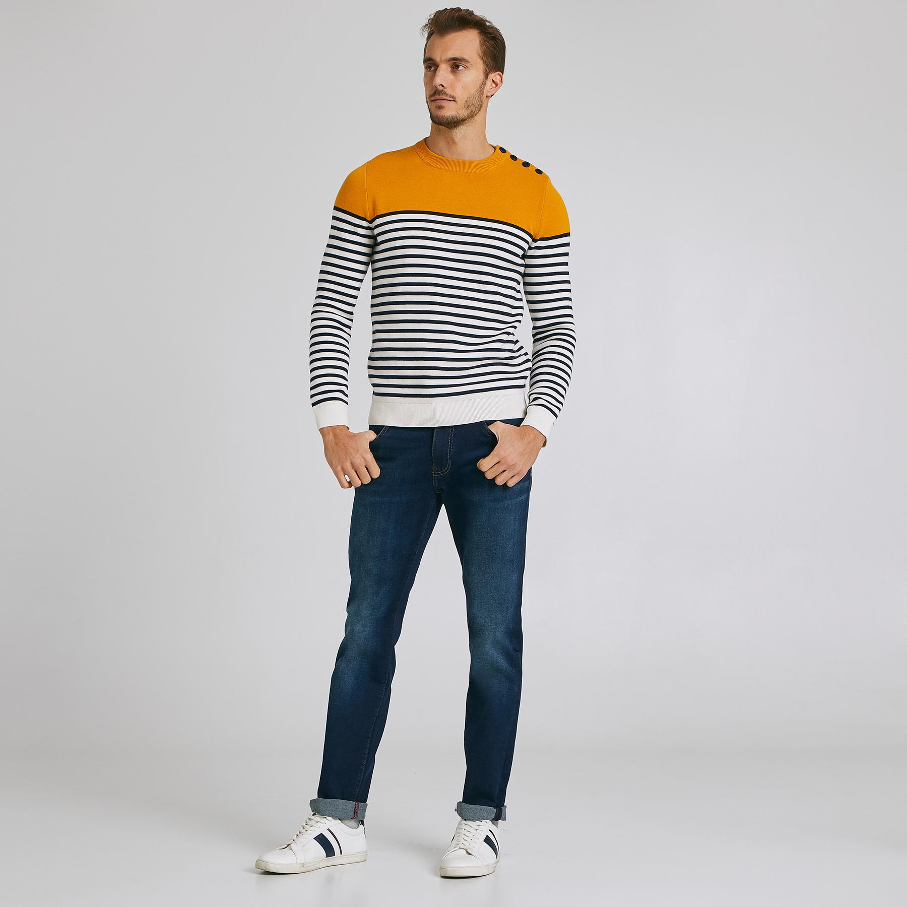 Jean straight #Ben  4 longueurs Bleu Homme