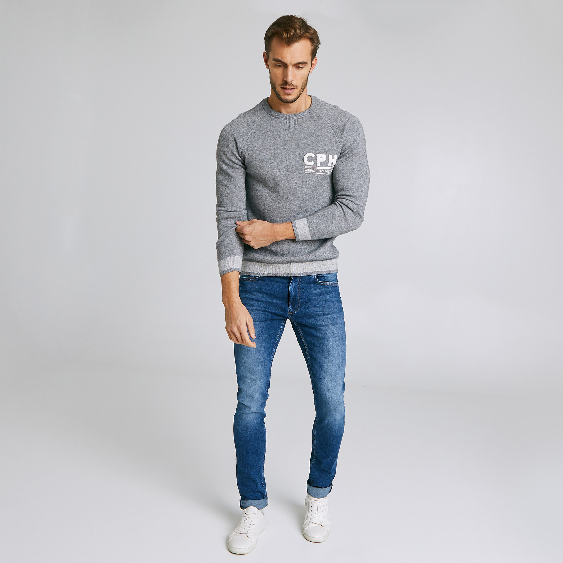 Jean skinny #Max  4 longueurs  bleu foncé Bleu Homme