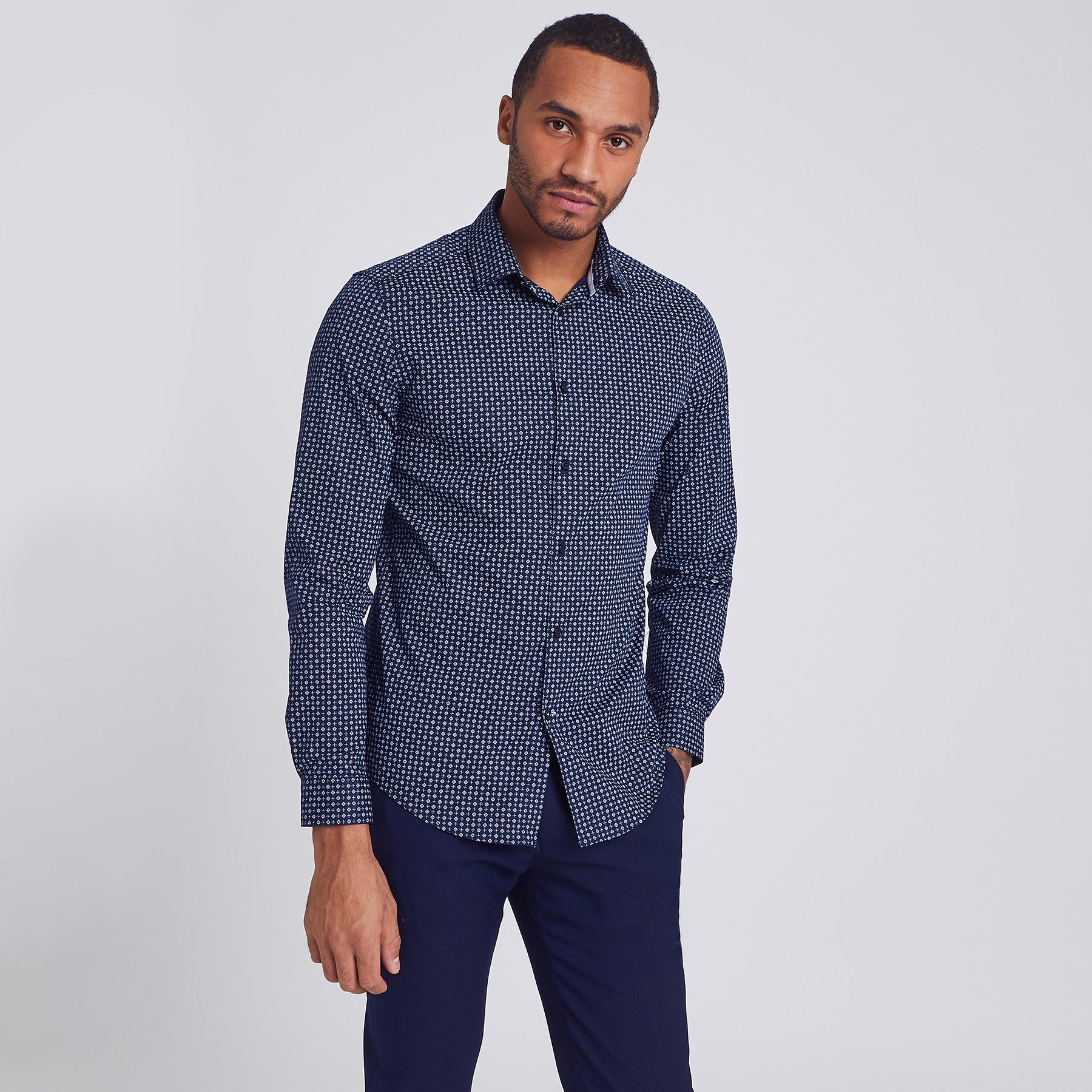 Chemise slim motif cravate coton Bleu Homme