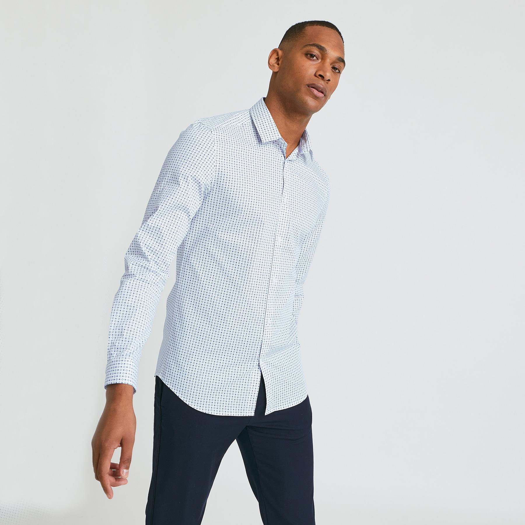 Chemise slim motif cravate coton Blanc Homme