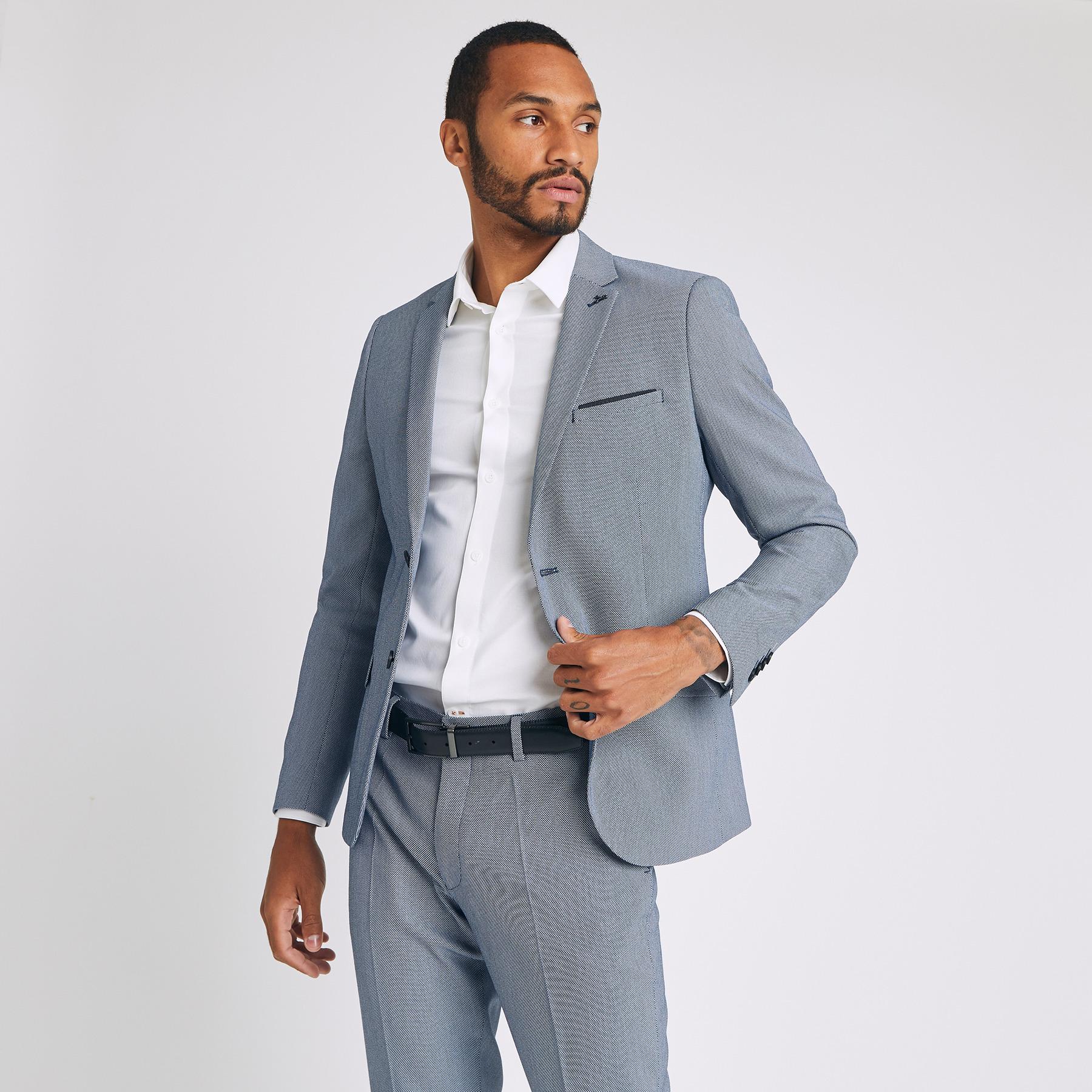 veste de costume slim Bleu Homme