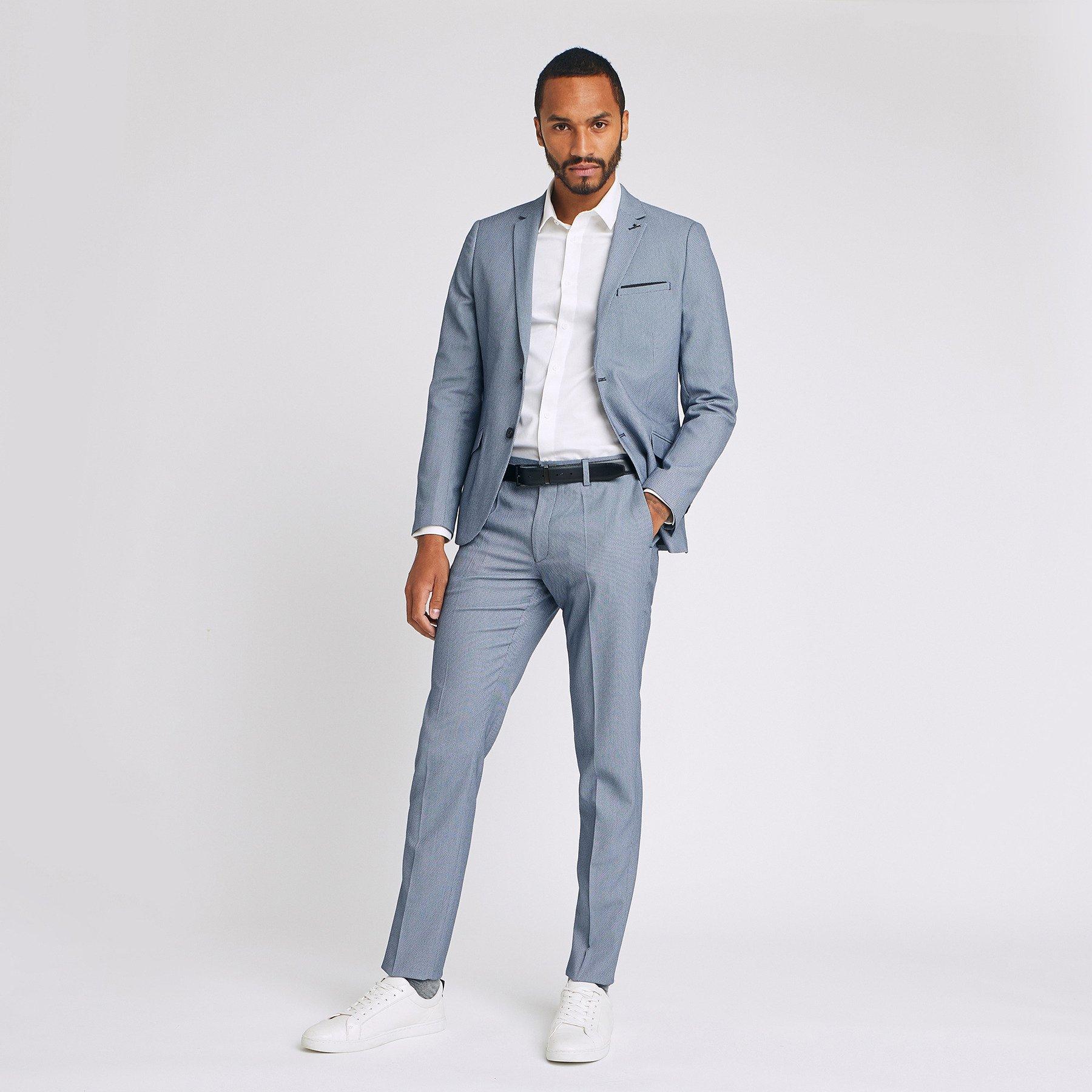 pantalon de costume slim Bleu Homme