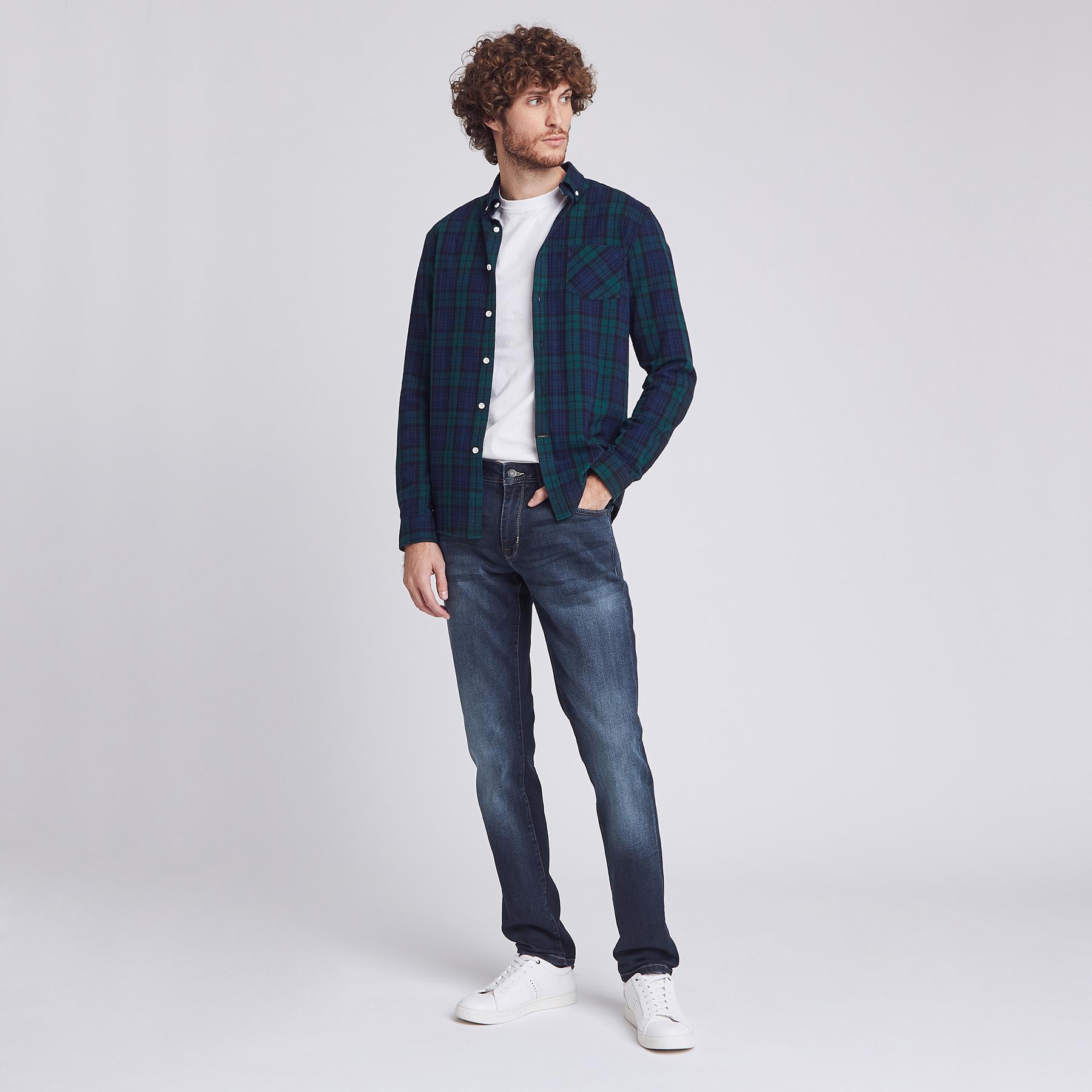 Jean regular patch Bleu Homme