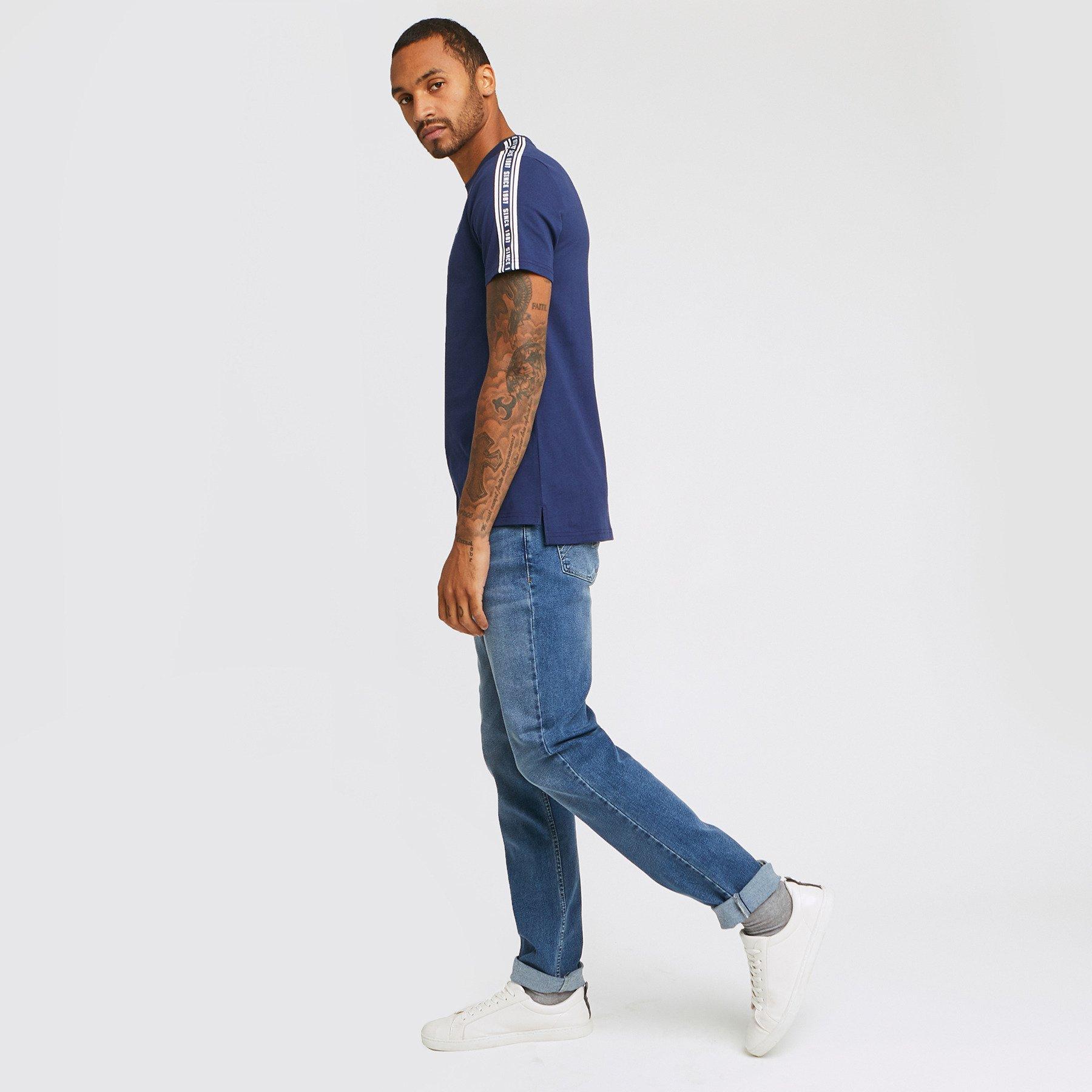 Jean straight #Ben 4 longueurs stone Bleu Homme