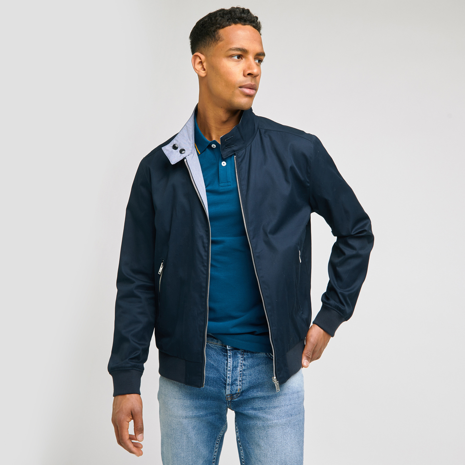 Blouson réversible en coton Bleu Homme