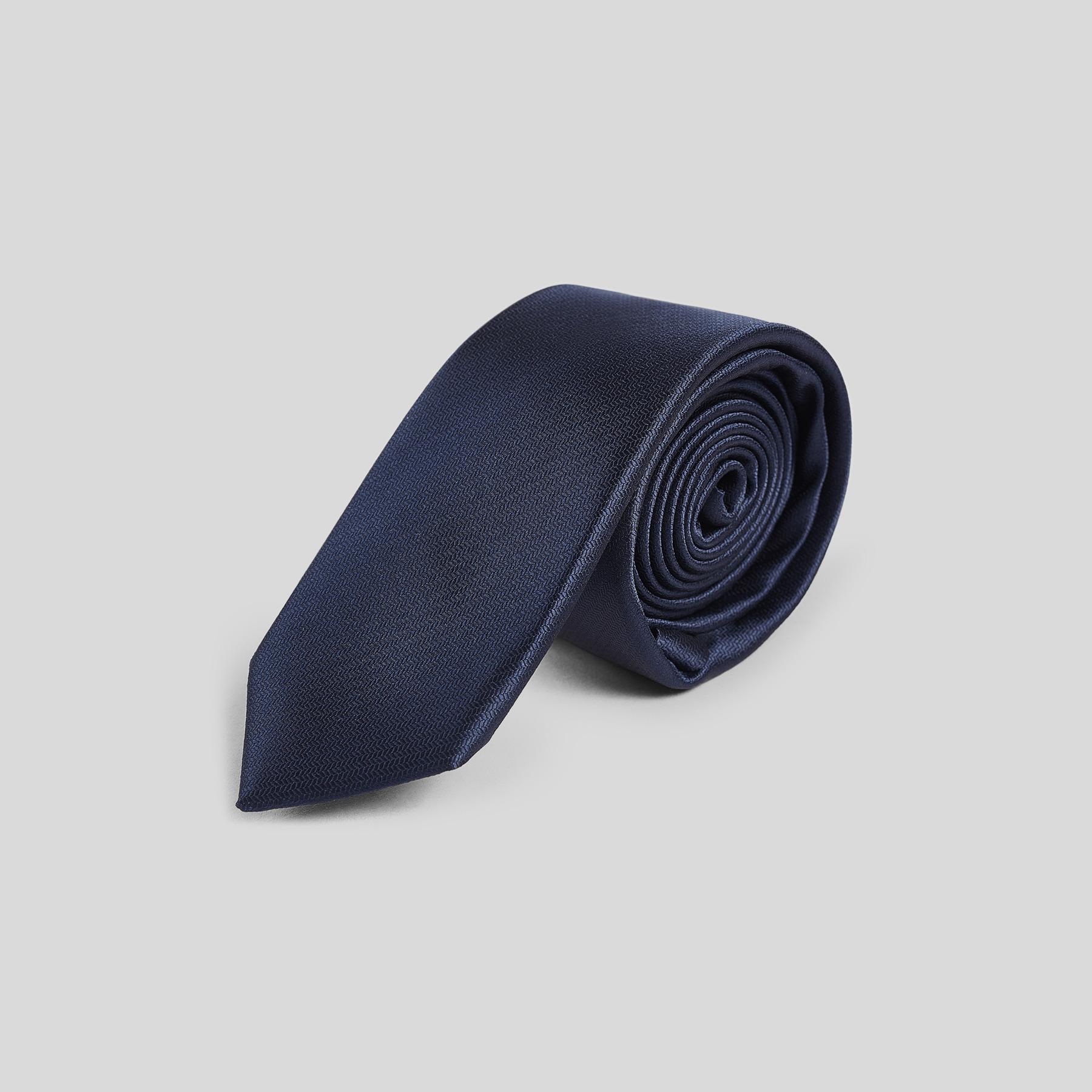 Cravate fine unie Bleu Homme
