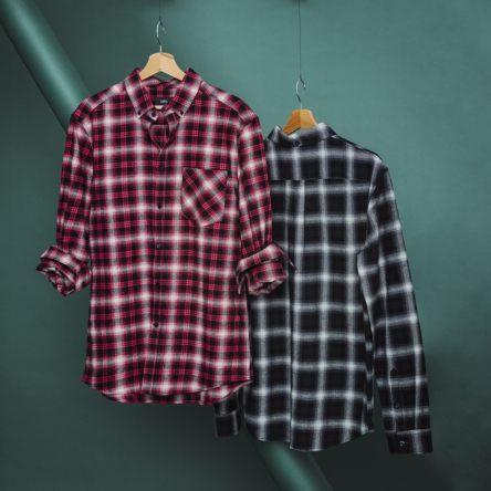 Chemise regular à carreaux et col pointe boutonnée - Blanc