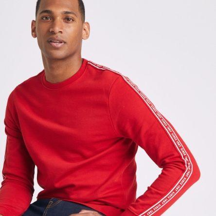 Sweatshirt bande manche - rouge