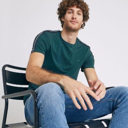 T-shirt à bandes col rond - Vert Billard